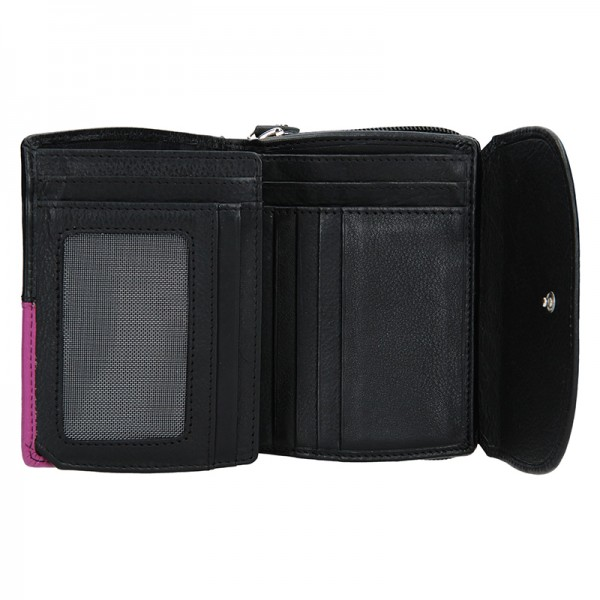 Dámská kožená peněženka DD Anekta Milena - černo-fialová
