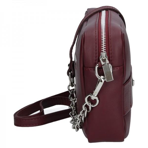 Trendy dámská kožená crossbody kabelka Facebag Nina - vínová