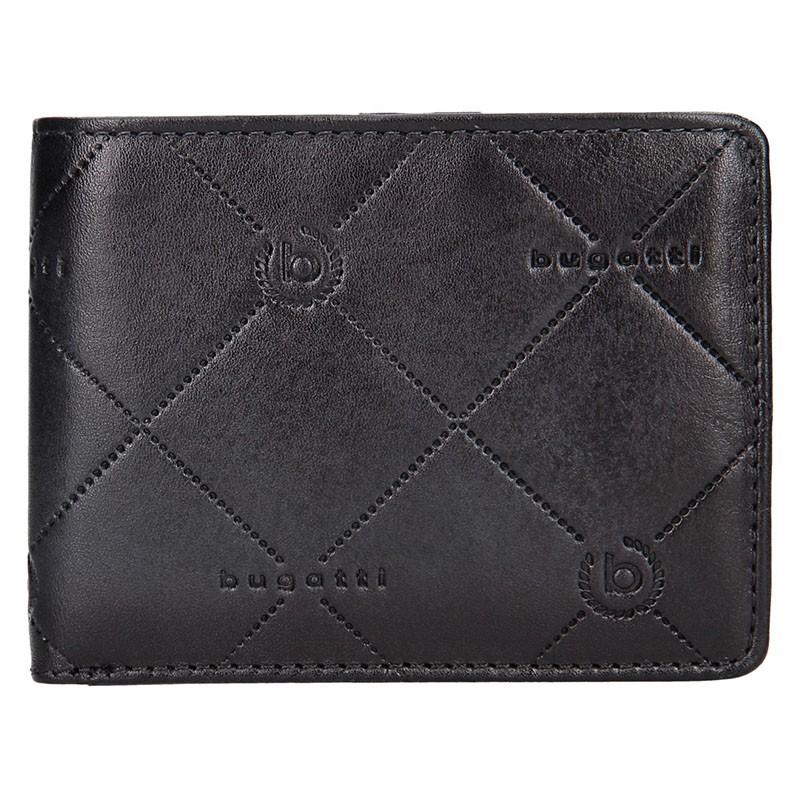 Pánská kožená peněženka Bugatti Curt - černo-šedá