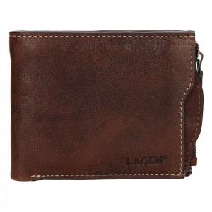 Pánská kožená peněženka Lagen Elias - tmavě hnědá