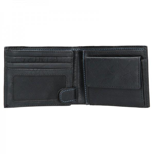 Pánská kožená peněženka Lagen Tobias - černo-modrá
