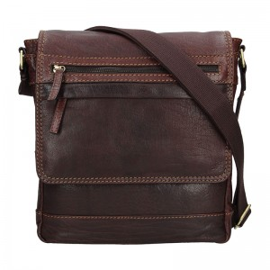 Pánská kožená taška přes rameno Lagen Borek - černá