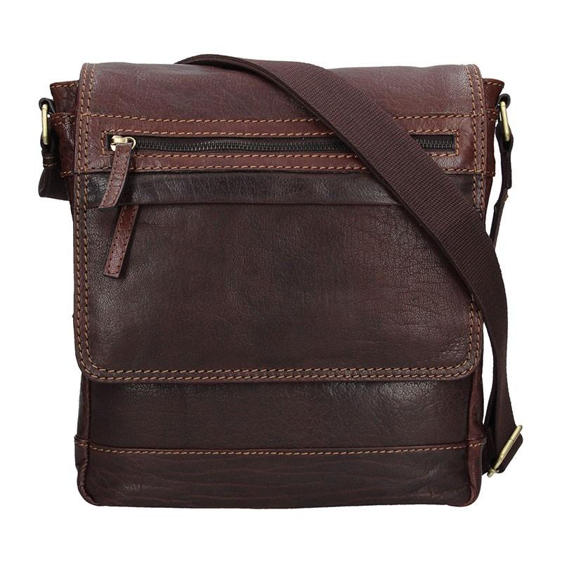 Pánská kožená taška přes rameno Lagen Borek - tmavě hnědá