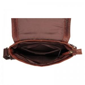 Pánská kožená taška přes rameno Lagen Borek - hnědá
