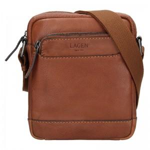 Pánská kožená taška přes rameno Lagen Moet - hnědá