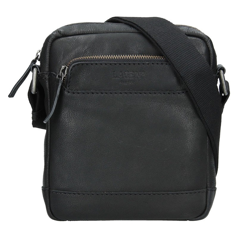 Pánská kožená taška přes rameno Lagen Demarcus - černá