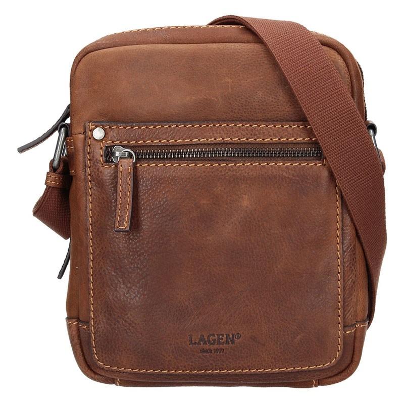 Pánská kožená taška přes rameno Lagen Dennis - světle hnědá