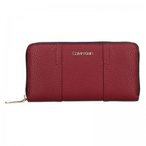 Dámská kožená peněženka Calvin Klein Alessia - vínová