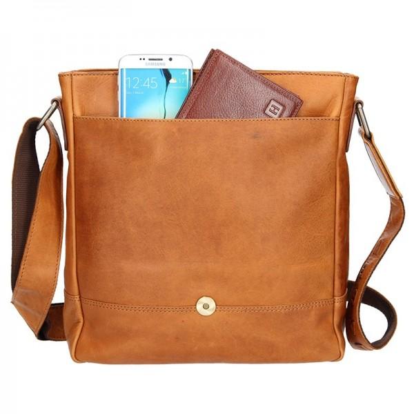 Pánská kožená taška přes rameno Lagen Oliver - hnědá