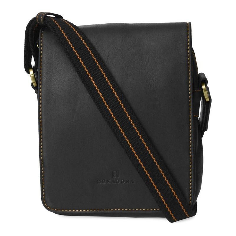 Pánská kožená taška přes rameno Hexagona 154191 - černá
