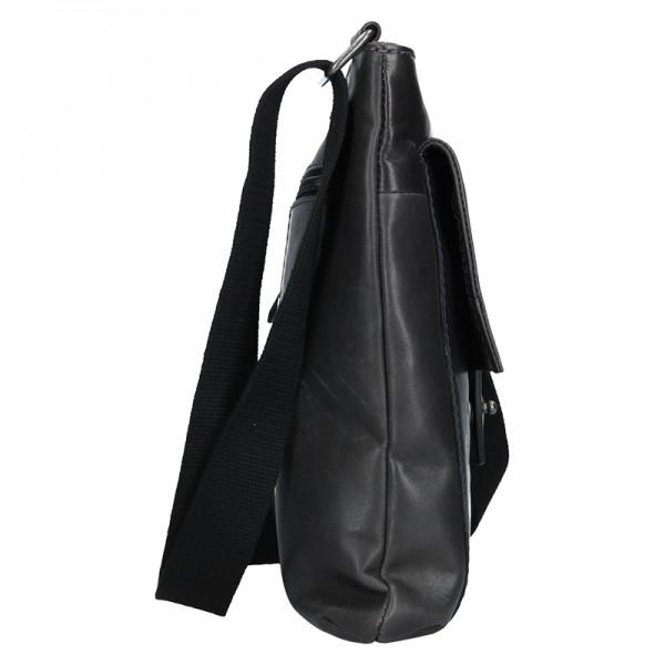Unisex kožená taška přes rameno Lagen Apolon - tmavě modrá