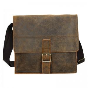 Pánská kožená taška 2JUS Land 3 - černá
