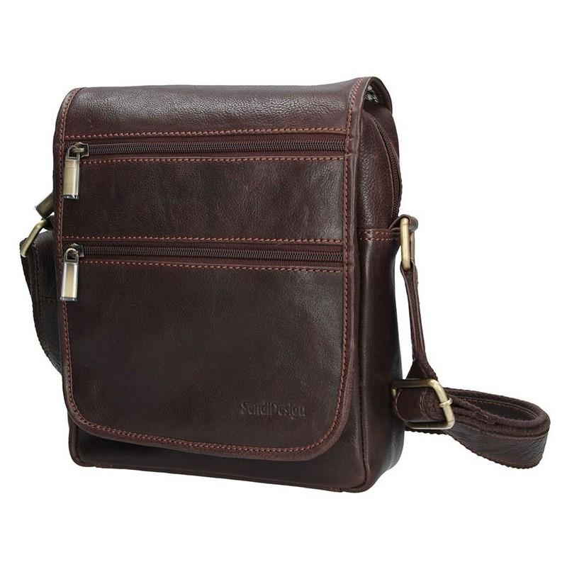 Pánská kožená taška přes rameno SendiDesign CT706 - hnědá