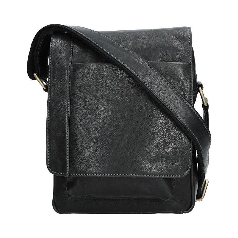 Pánská kožená taška přes rameno SendiDesign CT706 - černá