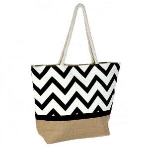 Plážová taška Bellugio Kristy - černo-bílá