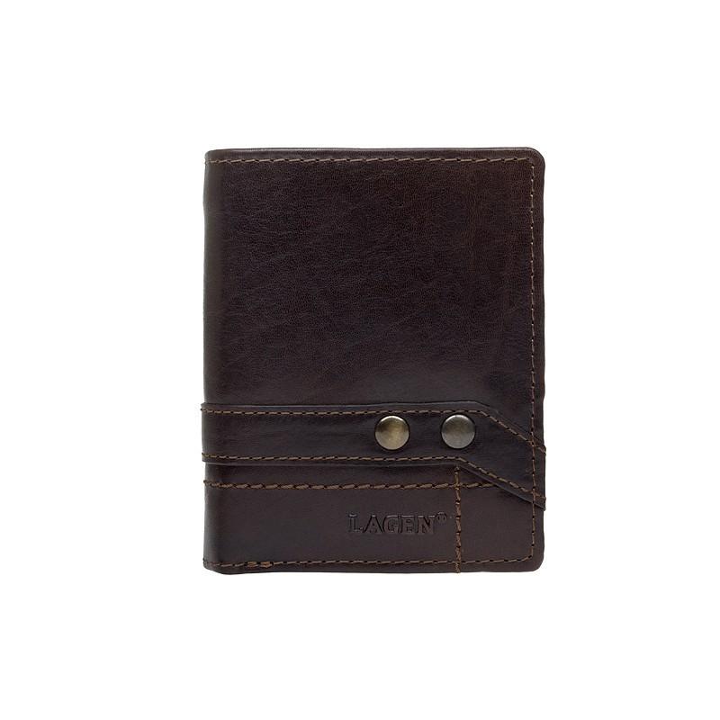 Pánská kožená peněženka Lagen Conor - tmavě hnědá