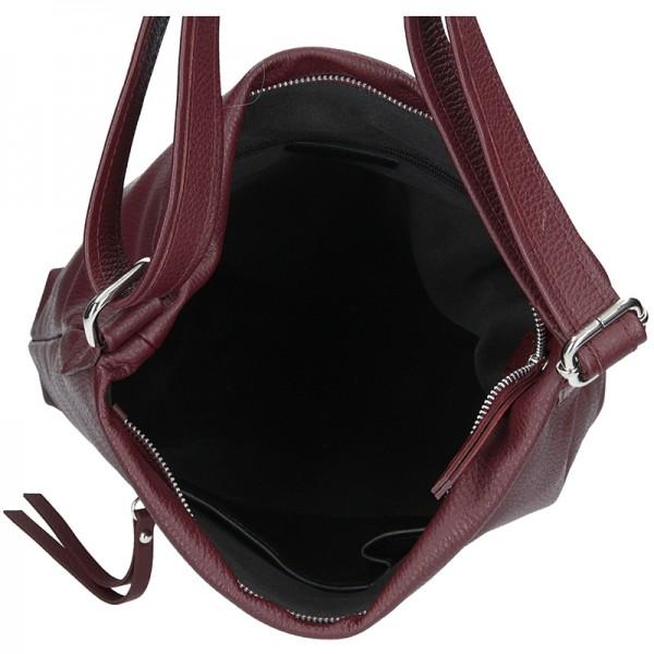 Dámská kožená kabelka Facebag Milen - vínová