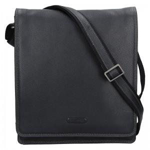 Pánská celokožená taška přes rameno Katana Pier - černá
