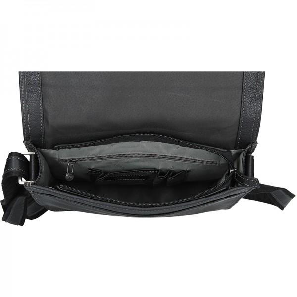 Pánská celokožená taška přes rameno Katana Liver - černá