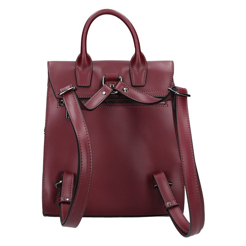 Elegantní kožený dámský batoh Hexagona Parres - vínová