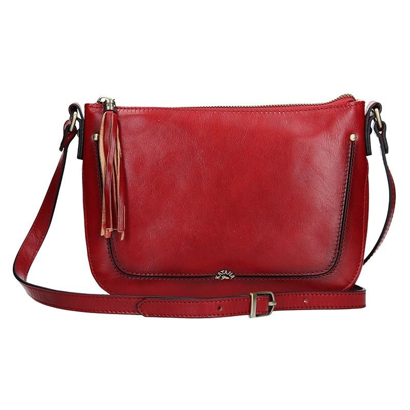 Kožená dámská crosbody kabelka Katana Rena - tmavě červená