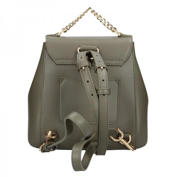 Elegantní dámský kožený batoh Hexagona Reina - olivová