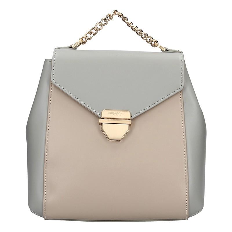 Elegantní dámský kožený batoh Hexagona Reina - šedo-béžová 39a6bf2a22