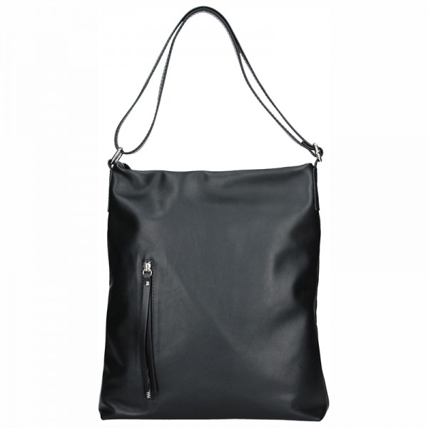 Dámská kožená kabelka Facebag Milen - černá hladká