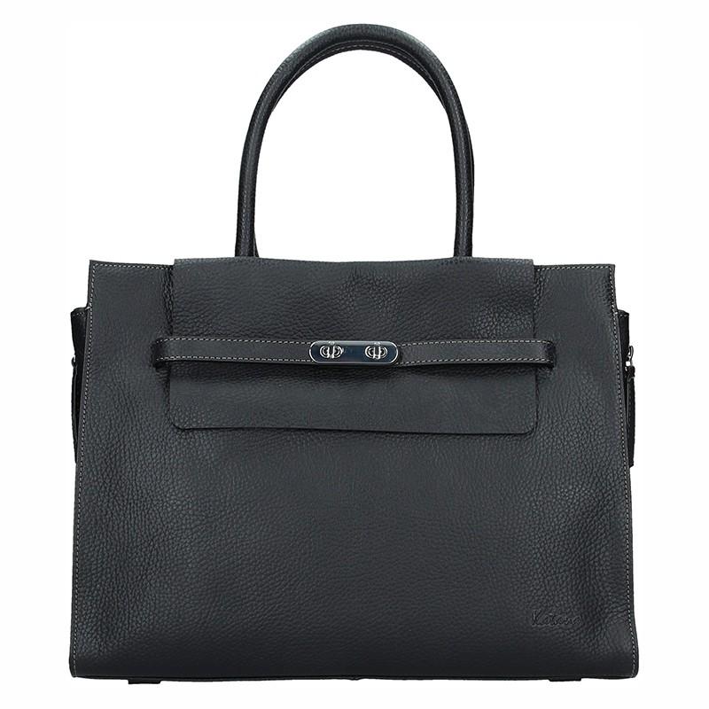 Elegantní dámská kožená kabelka Katana Aurora - černá
