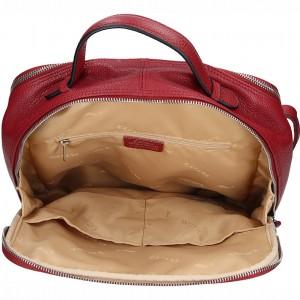 Dámský kožený batoh Katana Radka - tmavě červená