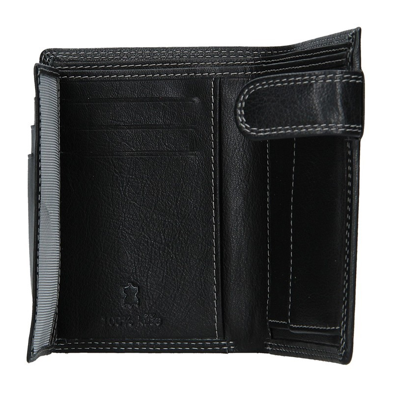 Pánská kožená peněženka DD Anekta Tobias - černo-modrá