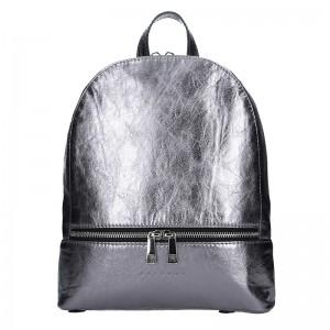 Dámský kožený batoh Facebag Paloma - stříbrná