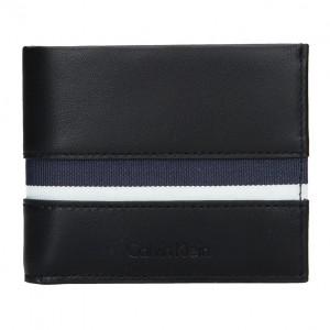 Pánská kožená slim peněženka Calvin Klein Alf - černo-modrá