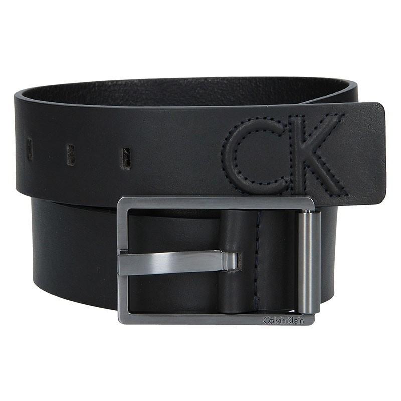 Černý kožený pánský opasek Calvin Klein Laurent