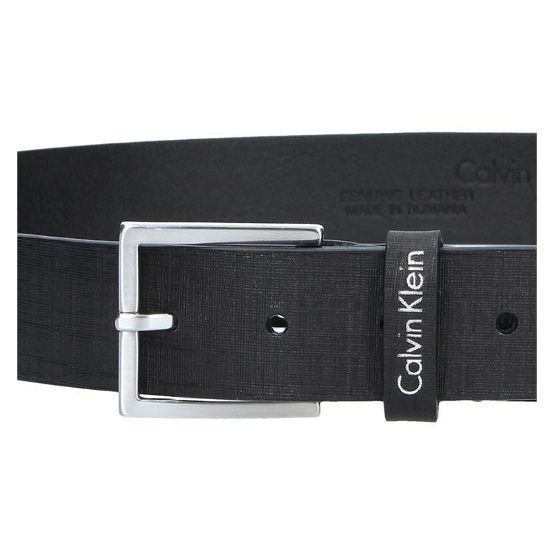 Černý kožený pánský opasek Calvin Klein Edmond