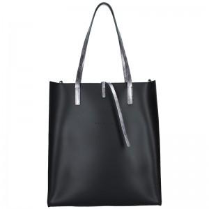 Dámská kožená kabelka Facebag Elmo - černo-stříbrná