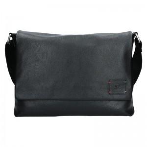 Pánská kožená taška přes rameno Lerros Timi - černá