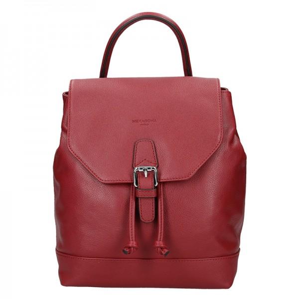 Elegantní kožený dámský batoh Hexagona Ghita - vínová