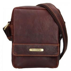Pánská kožená taška přes rameno SendiDesign Morell - hnědá