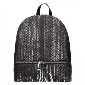 Dámský kožený batoh Facebag Paloma - černo-stříbrná