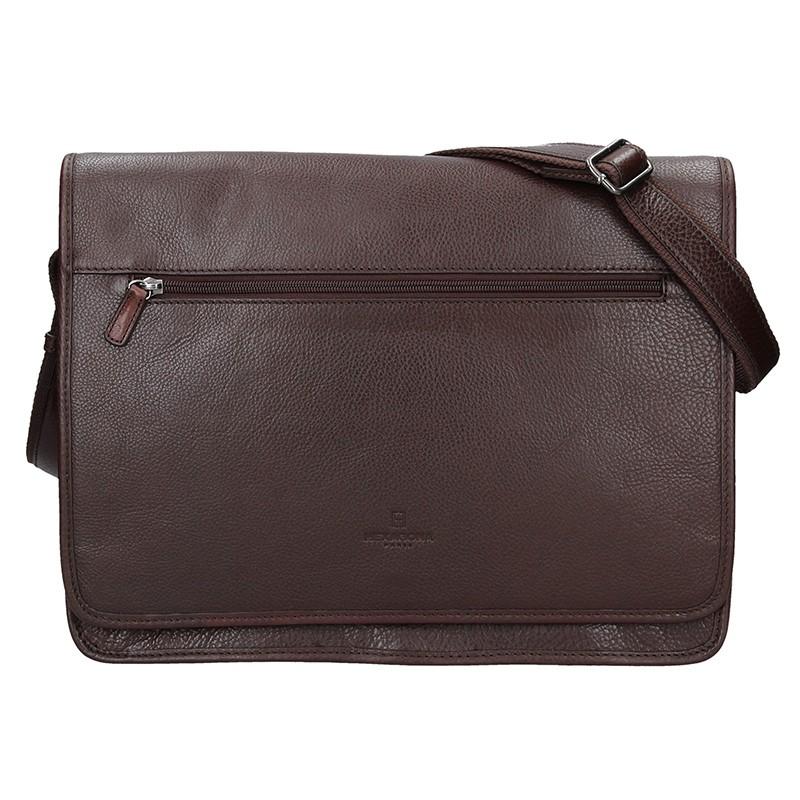 0b4fffa982 Pánská celokožená taška přes rameno Hexagona River - tmavě hnědá