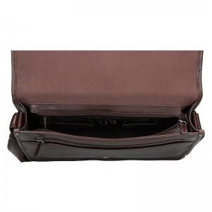 Pánská celokožená taška přes rameno Hexagona River - tmavě hnědá