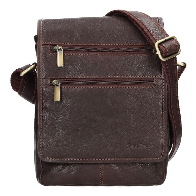 08e012653b5c3 Panská kožená taška přes rameno SendiDesign Danilo - hnědá
