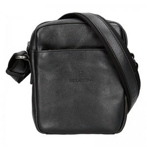 Pánská kožená taška přes rameno Hexagona Mauro - černá