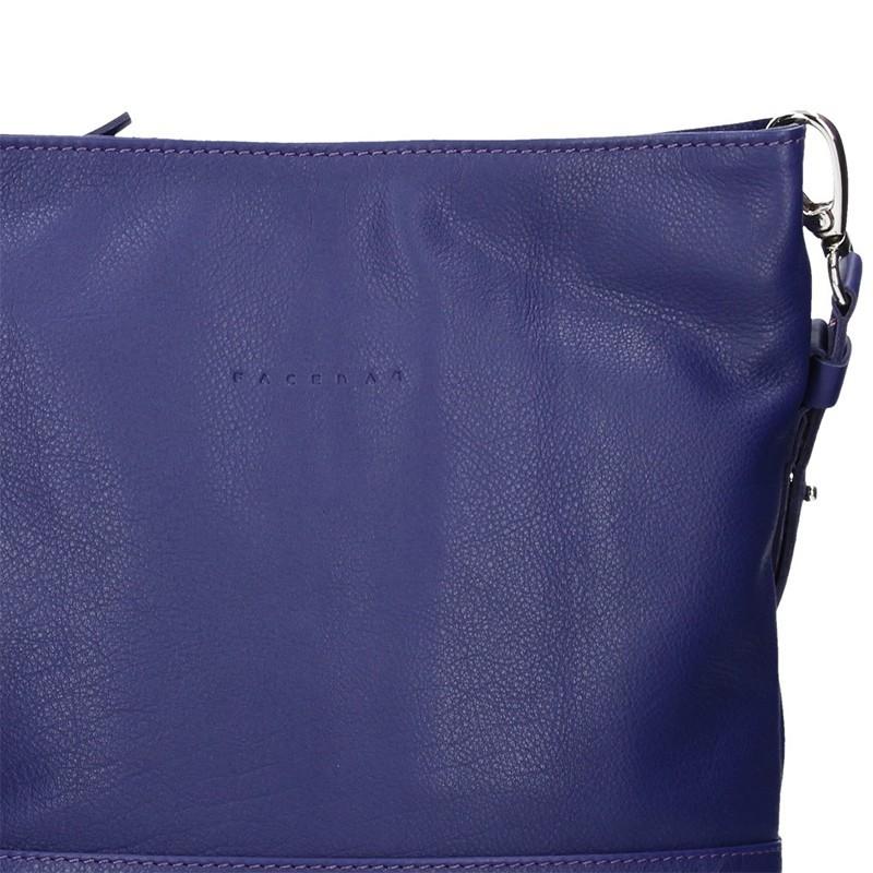 Dámská kožená crossbody kabelka Facebag Karla - modrá