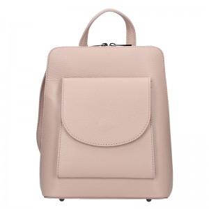 Kožený dámský batoh Unidax Malva - růžová