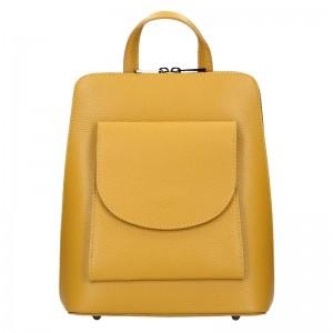 Kožený dámský batoh Unidax Malva - žlutá