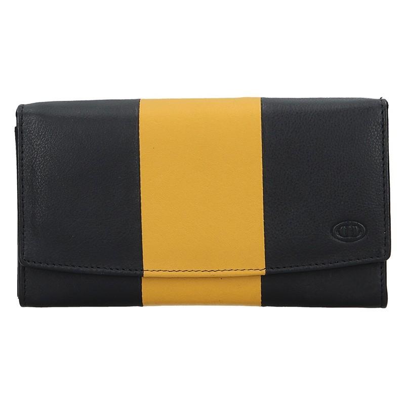 Dámská kožená peněženka DD Anekta Alena - černo-žlutá
