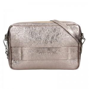 Trendy dámská kožená crossbody kabelka Facebag Ninas - zlatá