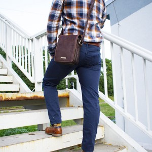 Panská kožená taška přes rameno SendiDesign Corrado - hnědá